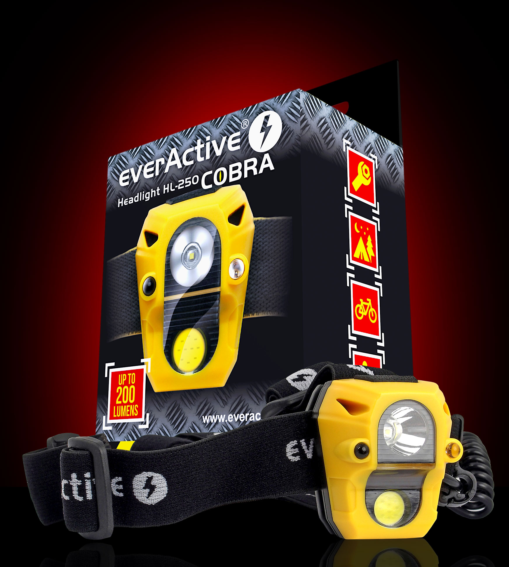 everActive new Cobra HL-250 headlight with giftbox