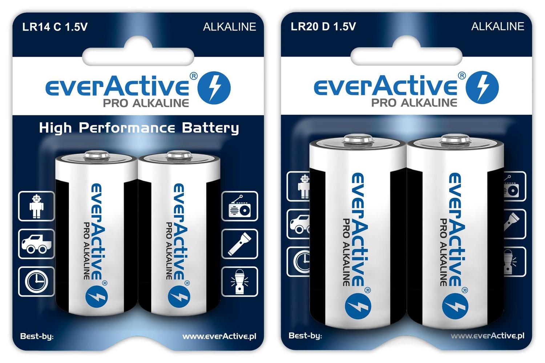 everActive new LR14 LR20 Pro Alkaline batteries