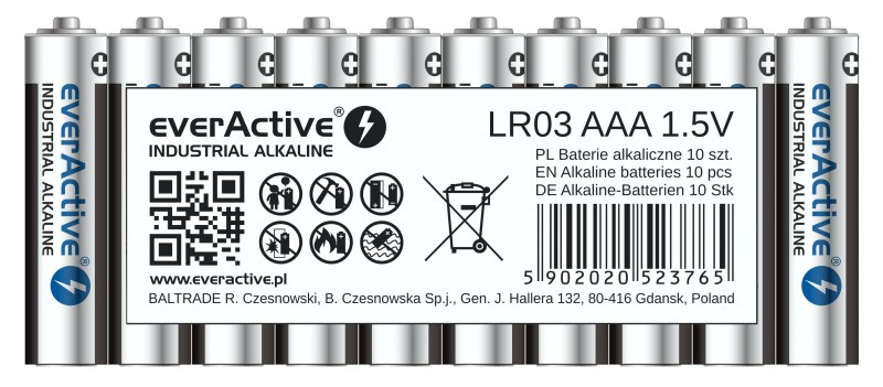 everActive alkaline batteries Industrial Series LR03 AAA
