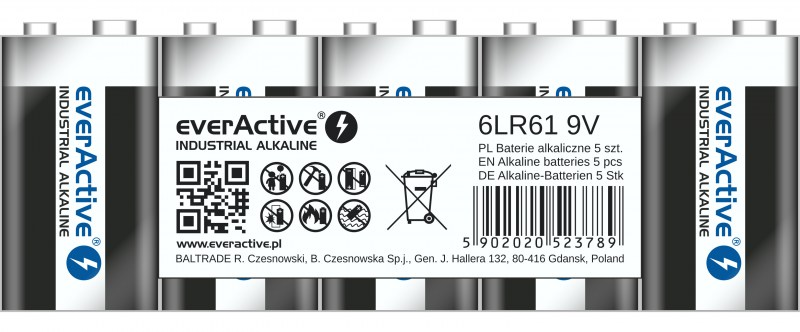 everActive alkaline batteries Industrial Series 6LR61 9V