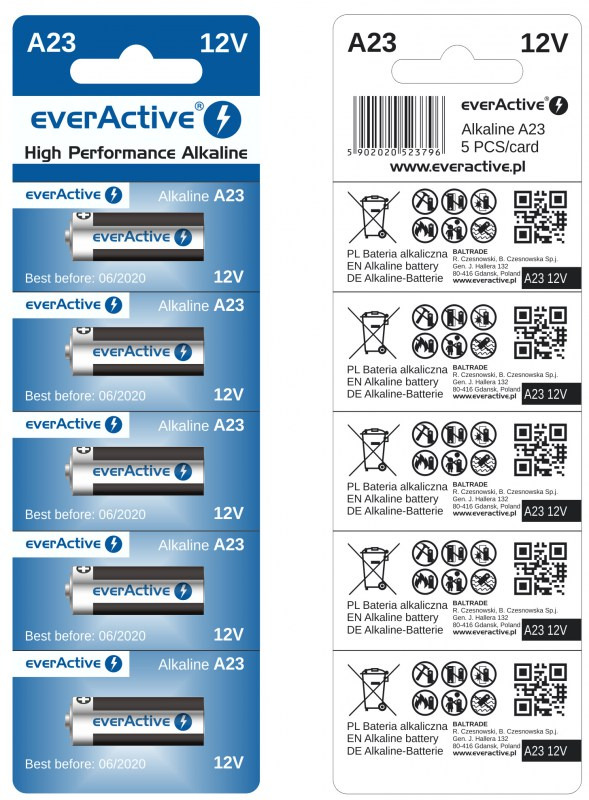 everActive alkaline batteries A23 L1028 12V