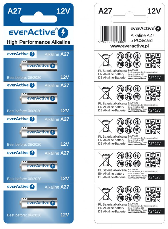 everActive alkaline batteries A27 L828 12V