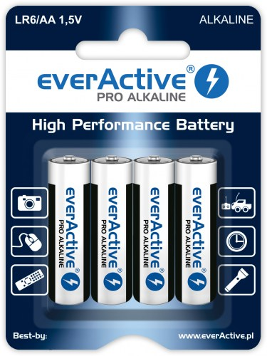 Alkaline batteries everActive Pro Alkaline LR6 AA - blister card - 4 pieces