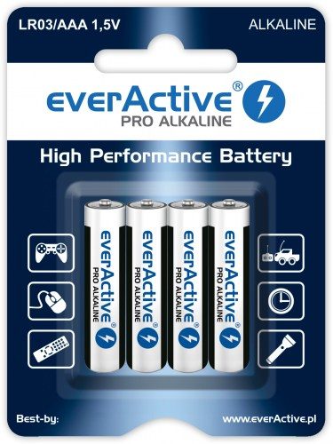 Alkaline batteries everActive Pro Alkaline LR03 AAA - blister card - 4 pieces