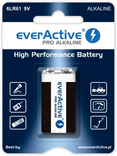Alkaline batteries everActive Pro Alkaline 6LR61 9V - blister card - 1 piece