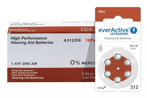 Zinc-air batteries everActive Ultrasonic 312 / PR41