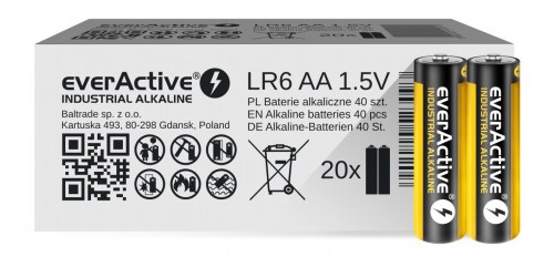 Alkaline batteries everActive Industrial Alkaline LR6 AA  - carton box - 40 pieces