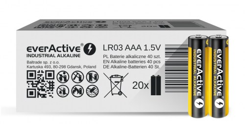 Alkaline batteries everActive Industrial Alkaline LR03 AAA  - carton box - 40 pieces