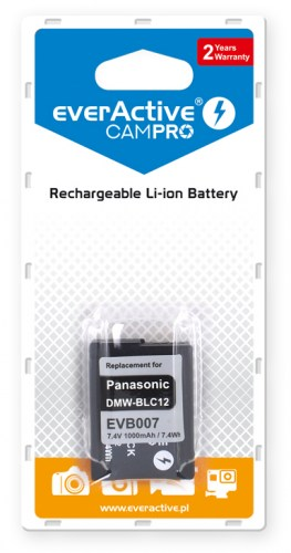 everActive CamPro battery - replacement for Panasonic DMW-BLC12