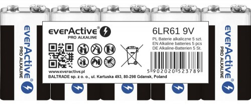 Alkaline batteries everActive Pro Alkaline 6LR61 9V - shrink pack - 5 pieces