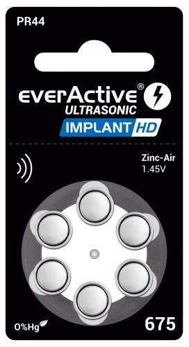 Zinc-air batteries everActive Ultrasonic Implant HD 675 / PR44