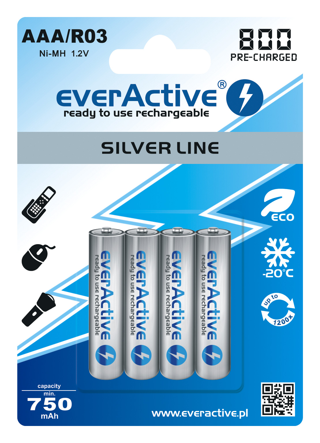 increased capacity of AAA silver line rechargeable batteries