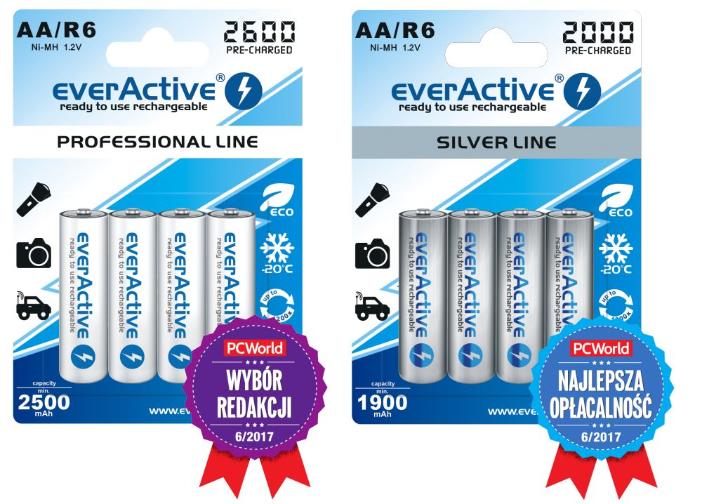 EverActive R6 rechargeables with awards